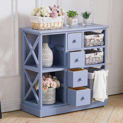 Storage Unit with Drawers Chest and Wicker Baskets - Blue / 8.4kg