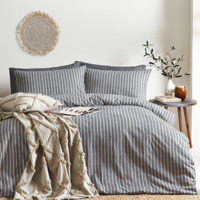 Striped Brushed Cotton Duvet Cover Set - Grey / Double