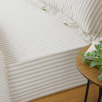 Striped Fitted Bed Sheet - Natural / King