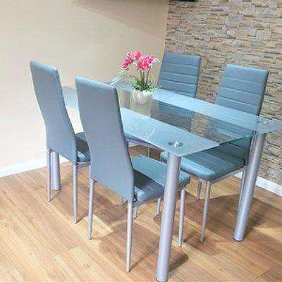 Stunning Glass All Black Dining Table Set With 4 Chairs