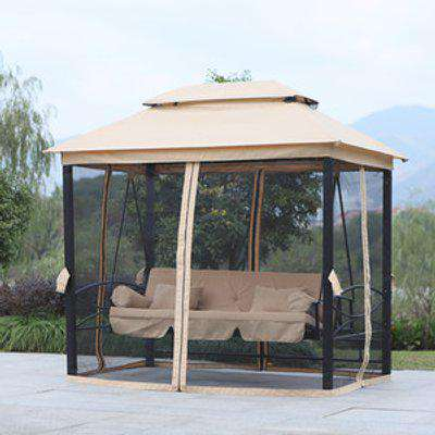 3 Seater Swing Chair with Mesh Curtains - Beige