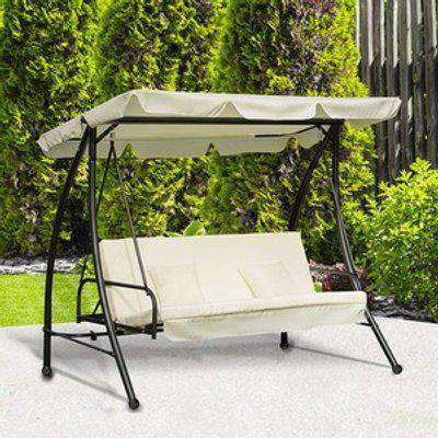 3 Seater Swing Chair 2 in 1 Hammock Bed - Cream White