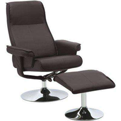 Swivel PU Office Chair and Footstool - Brown