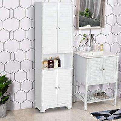 Tall Freestanding Bathroom Cabinet Retro Shutters White - White