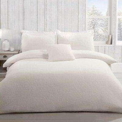 Teddy Fleece Duvet and Pillow Case Set - Ivory / King