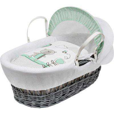 Teddy in the Park Mint Grey Wicker Moses Basket with Opal Folding Stand