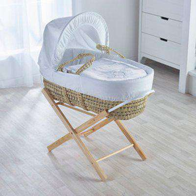 White Teddy Wash Day Moses Basket with Natural Opal Folding Stand