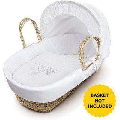 White Teddy Wash Day Moses Basket Bedding Set