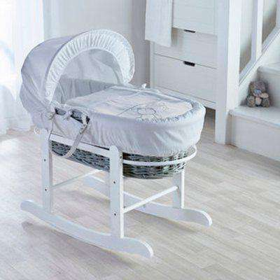 Teddy Wash Day Grey Wicker Moses Basket with Little Gem Rocking Stand  - White
