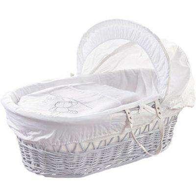 White Teddy Wash Day White Wicker Moses Basket - White