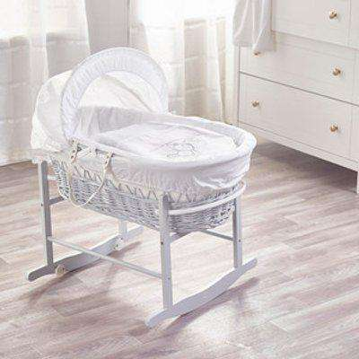 White Teddy Wash Day Wicker Moses Basket with Rocking Stand  - White
