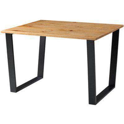 Texas Small Rectangular Dining Table With Black Metal Leg
