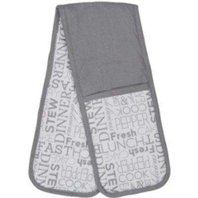 Text Double Oven Glove - Grey