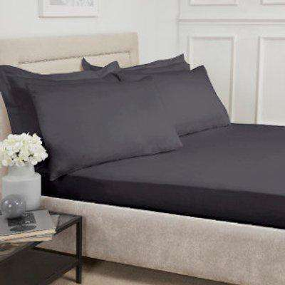 180 Thread Count Cotton Deep Fitted Sheet - Charcoal / King
