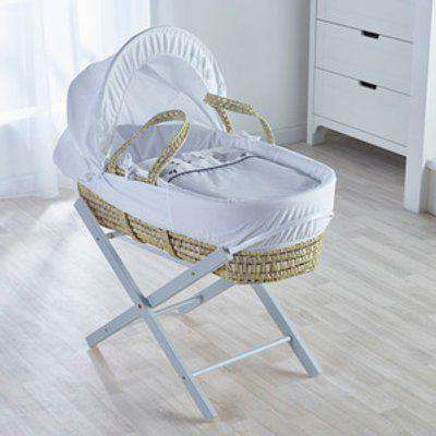 Three Little Sheep Moses Basket with Grey Opal Folding Stand