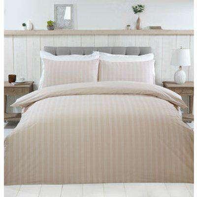 Thurlestone Stripe Duvet Cover and Pillowcase Set - Natural / Super King