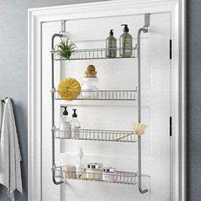 4 Tier Over Door Hanging Rack For Pantryand Storage Cupboard - Silver