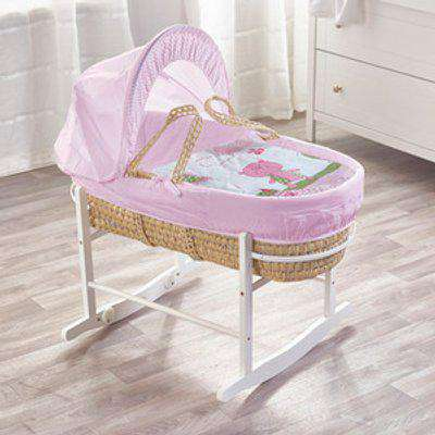 Tiny Ted Pink Moses Basket With White Rocking Stand