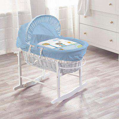 Tiny Ted Blue White Wicker Moses Basket - Blue