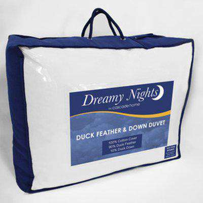13.5 tog All Season Duck Feather and Down Duvet - White / Single