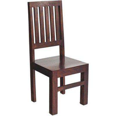 Toko Dark Mango Wood Dining Chair High Slat Back Set of 2 - Dark Wood