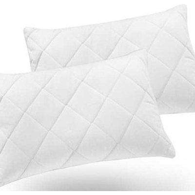 Soft Touch Quilted Pillow Protector Pair - Envelope Closing - White