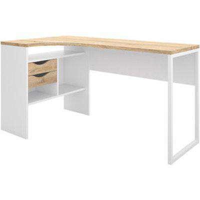 Toyen Corner Desk With Two Drawers - White/Oak