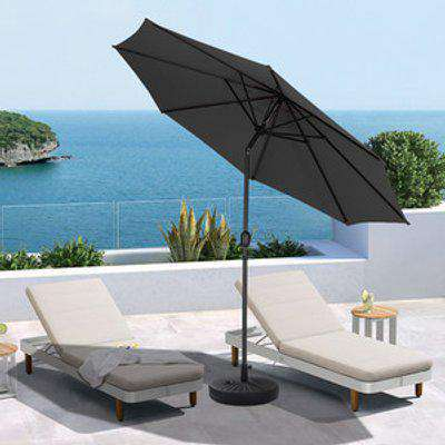 3M Traditional Parasol With Round Umbrella Stand - Black