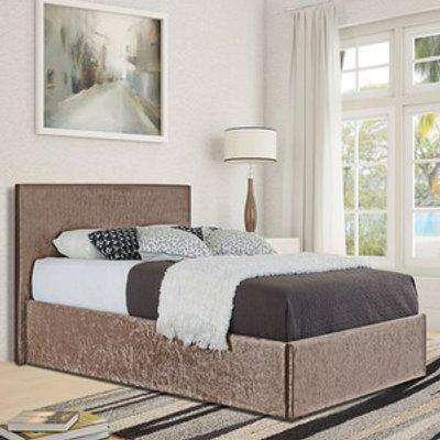 Truffle Crush Velvet Storage Ottoman Bed Frame  - Single