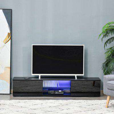 TV Stand Cabinet High Gloss Door with LED RGB Lights - Black