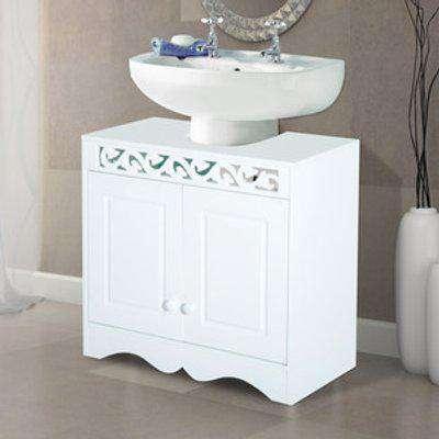 Under Sink Cabinet Storage Unit with Double Door Shelf - Grey