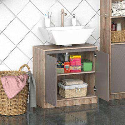 Under-Sink Storage Cabinet with Adjustable Shelf - Grey and Oak