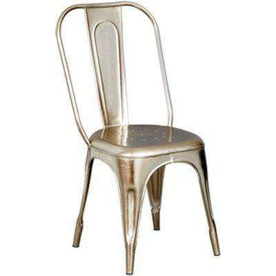 Upcycled Industrial Vintage Silver Metal Dining Chair Set of 2 - Silver