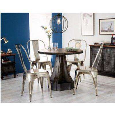 Urban Industrial Wood and Metal Round Dining Table - Medium Wood