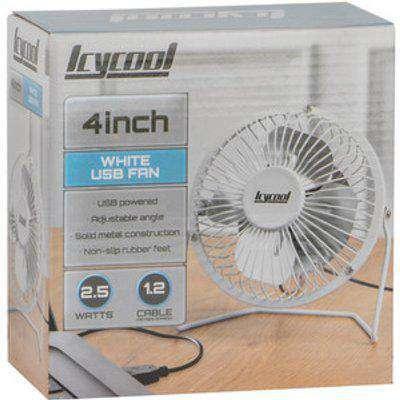"4"" USB Mini Desk Fan - White"