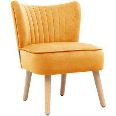Velvet Armless Accent Cocktail Chair - Yellow