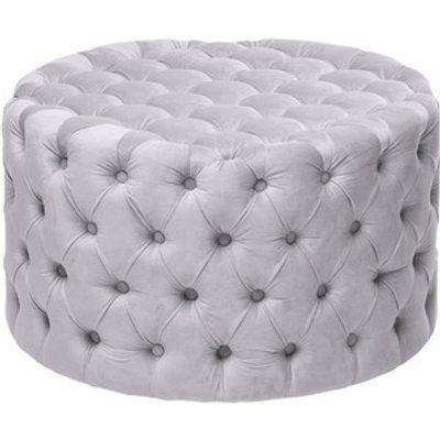 Velvet Round Buttoned Footstool - Grey / 82cm