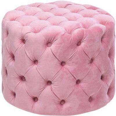 Velvet Round Buttoned Footstool - Grey-Pink / 62cm
