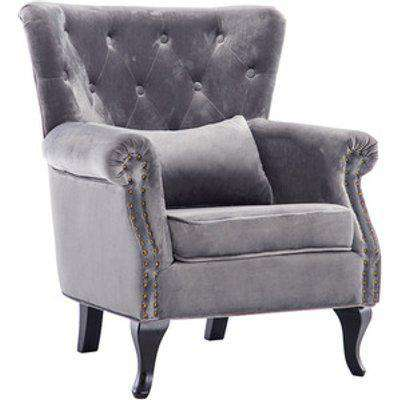 Velvet Wingback Palace Armchair - Grey