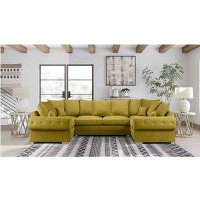 Volvo U Shape Large Sofa Scatterback Velour Velvet Fabric - Grass