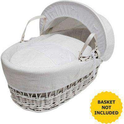 White Waffle With Bows Moses Basket Bedding Set