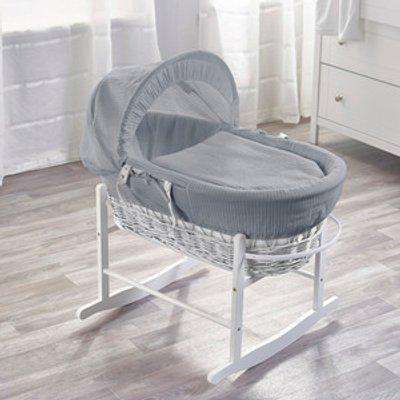 Grey Waffle White Wicker Moses Basket with Chester Rocking Stand - Grey