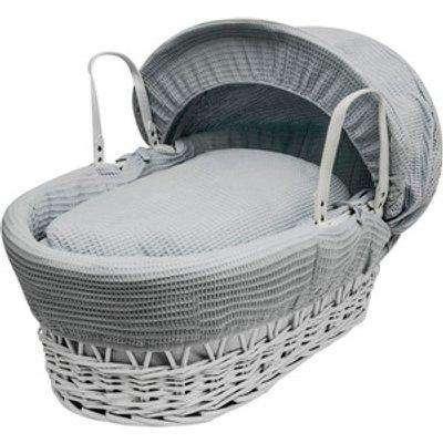 Grey Waffle White Wicker Moses Basket - Grey