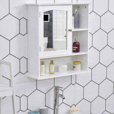 Wall Mount Bathroom Cabinet with Mirror Adjustable Shelf - White
