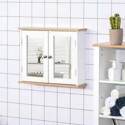 Wall Mounted Bathroom Mirror Cabinet - White, Wood Grain Top
