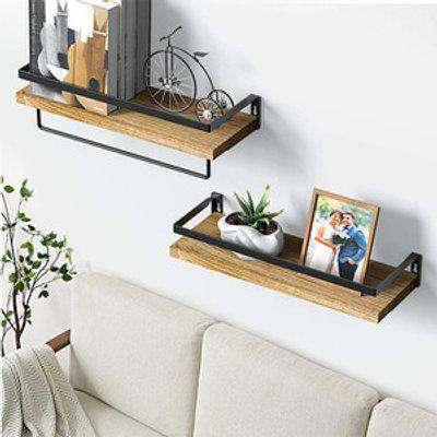 Wall Shelf Wooden Storage Rack with Towel Rod 2pcs - Light Brown