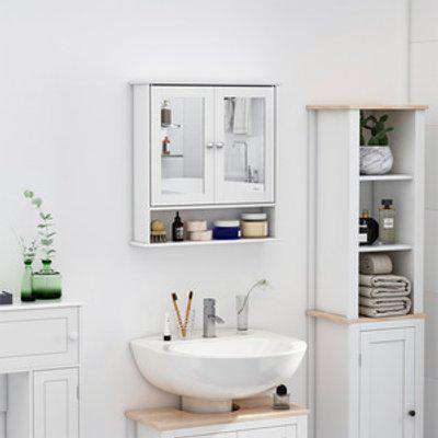 Wall-mounted Bathroom Cabinet Mirror - White