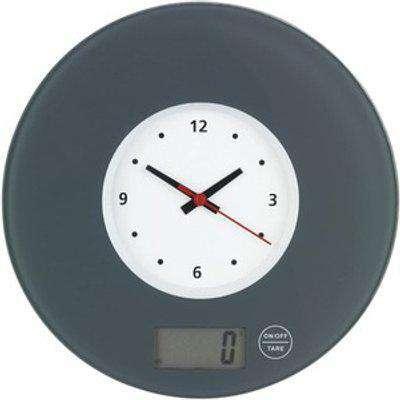 Wenko Circular Kitchen Scale with Clock Grey - Black