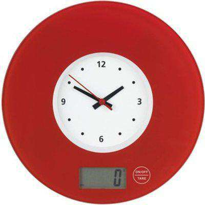 Wenko Kitchen Scale with Clock Red - Red