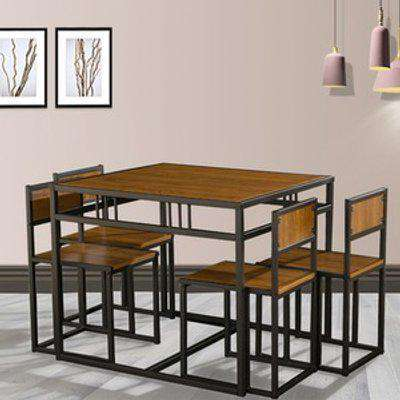 WestWood Space Saving Dining Table and 4 Chairs - Walnut